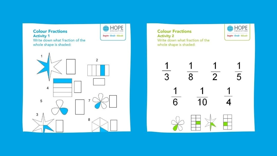 Colour and shading fractions worksheet