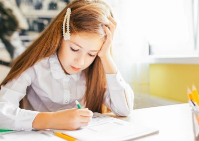 Young girl story writing
