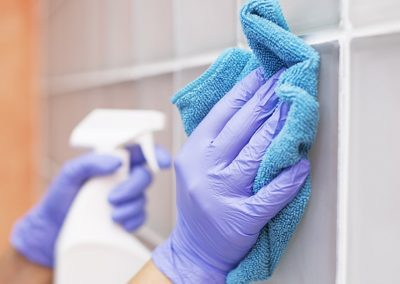 Using antimicrobial to clean school walls