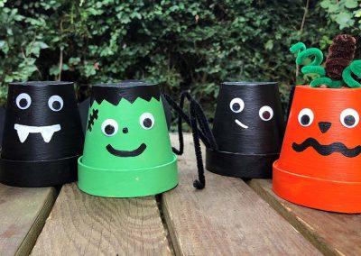 Halloween character pots
