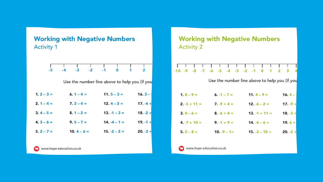 Number line with negative numbers: A printable worksheet