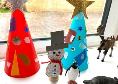 craft snowman and trees
