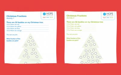 Christmas tree fractions: A festive maths worksheet