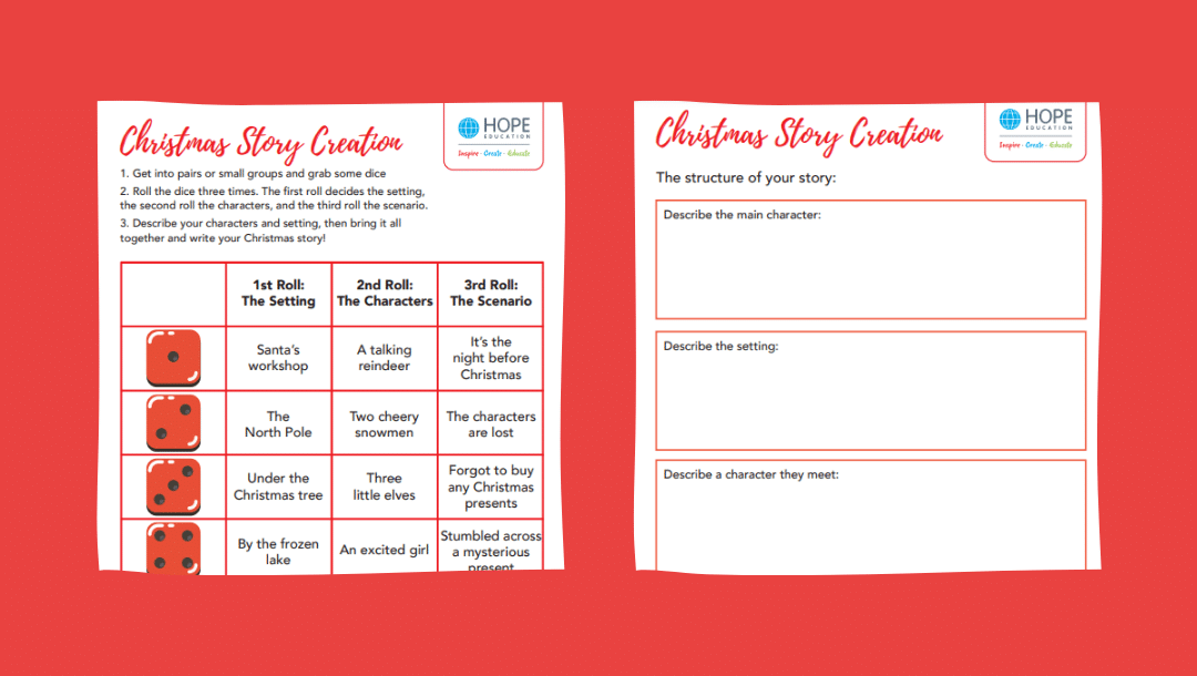 Christmas story creation: A festive English worksheet