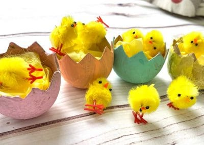 papier mache chick egg craft