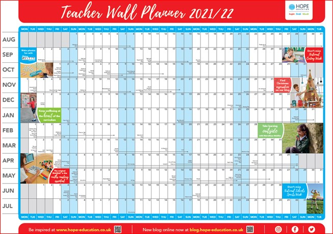 Free download: Academic year activity wall planner 2021/22