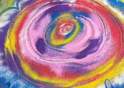 rangoli made of coloured sand